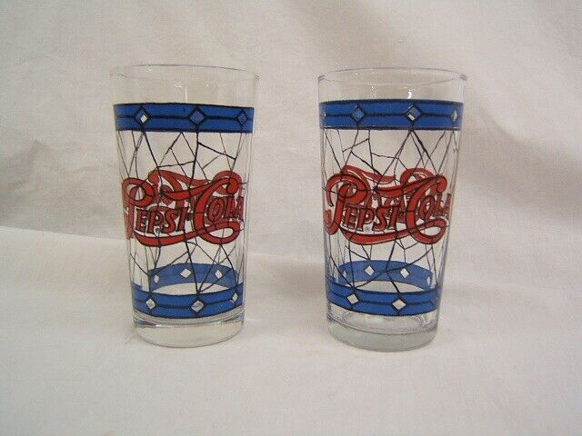 """Lot of 2  Pepsi-Cola Tumblers Stained Glass Look 5"""" Height VGC"""