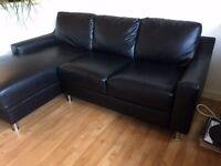 Black leather corner sofa (can deliver)