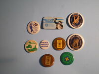 9 vintage pin buttons