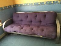 Sofa bed - silver frame, blue mattress