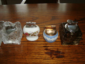 SET OF 5 VINTAGE TABLE MODEL CIGARETTE LIGHTERS