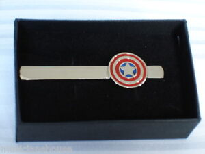 SUPER HERO LOGO TIE CLIP PIN BAR SUPERHERO MARVEL DC COMIC NOVELTY GIFT PRESENT