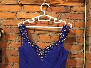Royal Blue ladies gown with crystal stones