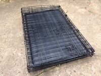 Metal, Fold Flat, Dog Crate With Plastic Tray, Black