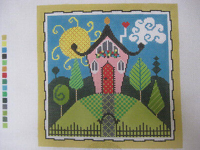 handpainted needlepoint canvas SHELLY - HOUSE ON A HILL FREE SHIP