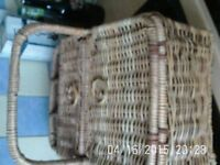 Large Wicker Picnic Hamper with Holder for 3 Bottles - VGC