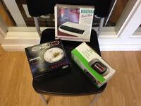 Hitachi Multi bank digital clock radio - Good man CD walkman - Asda AM/FM Radio