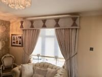 curtain and pelmet, cream crushed velvet curtain and pelmet trimmed in diamond effect and gold