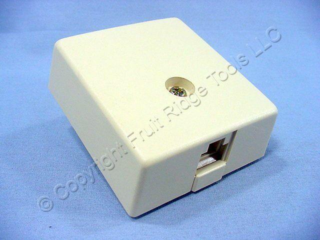 New Leviton Ivory Surface Mount Type 103 Modular Phone Jack Cat 3 WECO 41038-IDB