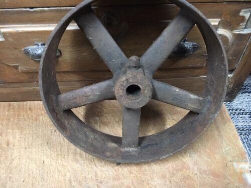 "antique CAST IRON FLAT BELT PULLEY 3x12"" gas steam engine sawmill steampunk lamp"