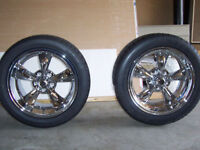 4 brand new rims with tires and lugs