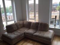 Real Leather Corner Sofa (£300 - vintage look)