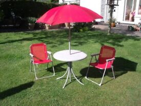 PAIR FOLDING CHILD'S CHAIRS PATIO SET WITH TABLE AND UMBRELLA