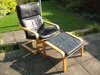 IKEA Poang Leather Armchair and Footstool