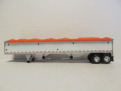 DCP 1/64 SCALE WILSON GRAIN TRAILER (HOPPER BOTTOM)  WHITE  WITH ORANGE TARP 4