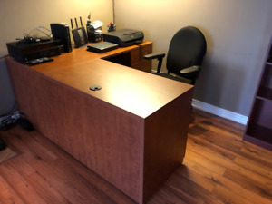 Maple desk and credenza with wall mounted matching cabinet