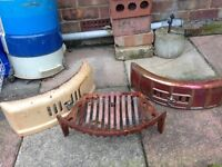 Vintage fire grate and 2 enamelled front covers