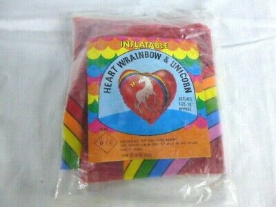 "NOS Vtg 80s OTC Inflatable Heart with Unicorn & Rainbow NEW OLD STOCK Taiwan 18"""