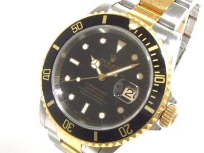 Auth ROLEX Submariner Date 16613 Silver 18K YG Men's Wrist Watch T690625