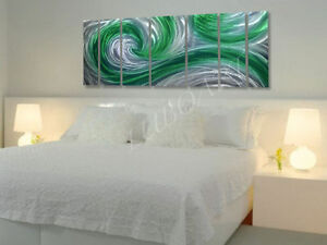fence wall abstract decor Metal art green ocean 3D wave painting