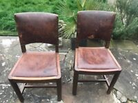 6 x Original Antique Vintage Leather Chairs , solid wood