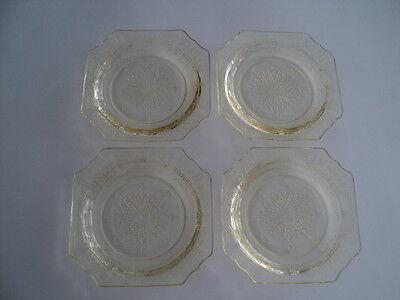 6 Piece Set Princess Topaz Yellow Depression Glass Plates & 2 cups