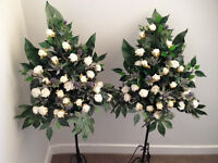 Artificial Wedding Flowers (2 large displays incl pedestal stands)Thistles &roses (Collection Eh11)