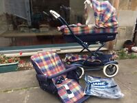 Mamas and Papas pram/carry cot/pushchair/sleeping bag w rain cover, insect net, reins