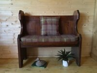 Beautiful Solid oak/ash wood church pew, monks bench settle, wooden hall seat