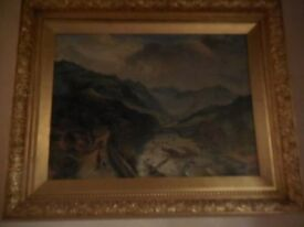 S YATES OIL PAINTING ON CANVAS DERBYSHIRE PEAKS