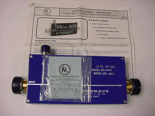 Maury Microwave 4095 Precision High Directivity Directional Coupler 1.5-3.0 Ghz