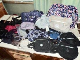 LADIES BAGS; various types/sizes, mostly Kipling brand.