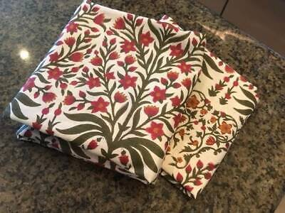 Pottery Barn LEILA Red Green Floral Paisley Standard Shams Pillow case Set of 2