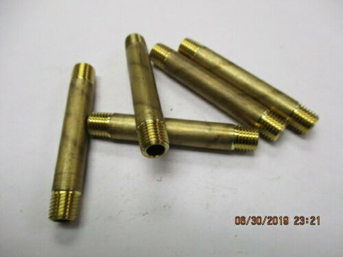 "(5) 1/16"" NPT Brass Pipe Nipples  2"" long  1/16"" wall"