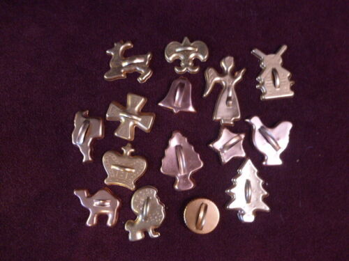 Lot 15 Vintage Cookie Cutters Aluminum Copper Holiday Animals Shapes