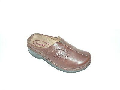 KLOGS Professional BROWN Floral Print LEATHER Clogs Size 8M