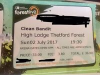 1 clean bandit ticket - High Lodge Thetford forest 02.07.17