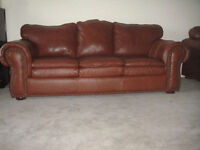 Classic High End Brown Leather Two Couches, 95% New, Can Deliver