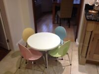 Childrens art/craft table with 4 pastel coloured chairs
