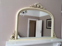 Ornate Arched Overmantle mirror