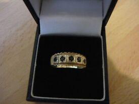 ladies safier eternity 9ct gold