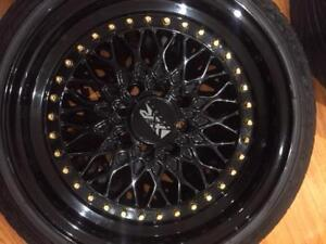 "15"" Black Rims & Tires 15 x 8.5"