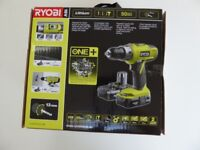 Ryobi ONE+ 18V Combi Hammer Drill Kit 2x1.3Ah batteries With New Forge Steel Drill Holster Belt.