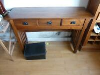 Pine hall table with three drawers