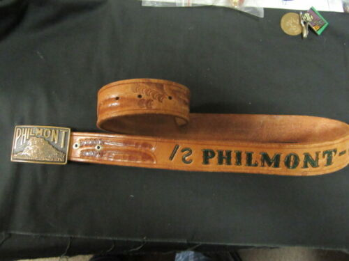 Philmont Scout Ranch Painted Leather Belt and Buckle, Size 32, older     eb20