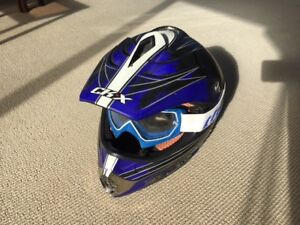 CKX youth dirt bike/motocross helmet (medium) and Thor goggles