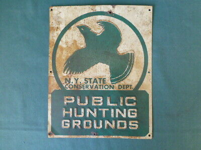 Vintage New York State Conservation Dept. Public Hunting Grounds Tin Sign