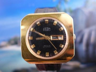 Unique Chunky 41Mm Gold Plated Vintage Day Date Ceba Incablock Super 747 Manual