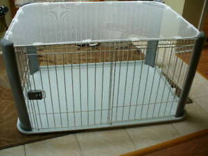 SMALL PET PEN (FOR UP TO 25 LBS) LIKE NEW- GREY & WHITE COLOR