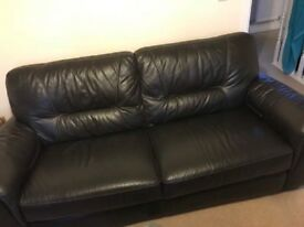 Brown leather sofa 3 seater and single